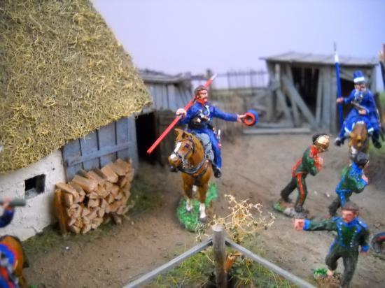 S 72/0528 3 Cosaques faisant une halte (collation)