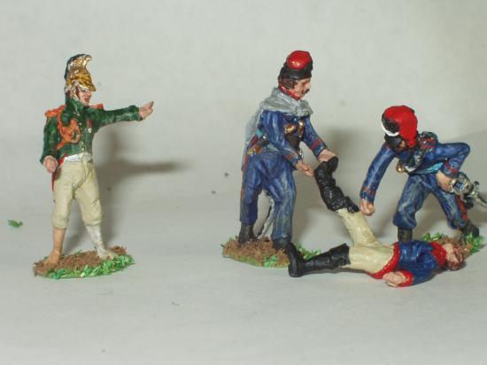 JS 72/0529 2 Cosaques détroussant 1 cuirassier polonais mort et1 Dragon français de la Garde (Prisonnier)