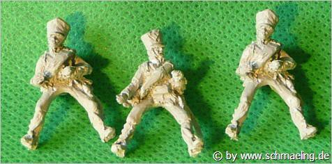 JS72/0597 3 cavaliers de l'artillerie à pied prussienne (1813-1815). Preussischer Fussartillerie (1813-1815),  als Reiter auf den Handpferden, 3 Reiter