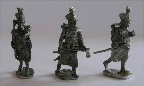 JS72/0629 3 Sapeurs de fusiliers Autro-Hongrois (1806-1815), avançant-Österreichische-Ungarische Füsiliere (1806-1815), Sapeure, vorgehend, 3 figuren