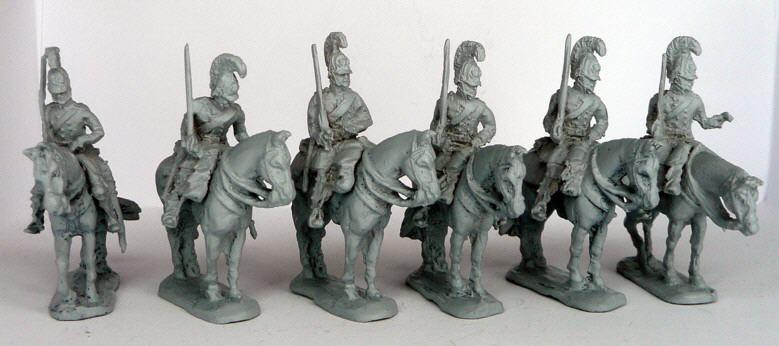 JS72/0640  Cuirassiers prussiens (1813-1815), à l'arrêt ; 6 cavaliers e 6 chevaux Preussische Kürassiere (1813-1815), abwartend, 6 reiter und 6 pferde